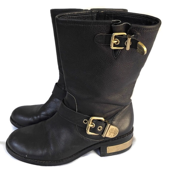 Vince Camuto Shoes - VINCE CAMUTO Black Leather Motorcycle Boots 8.5